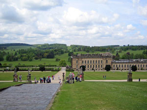 Chatsworth House in Derbyshire, UK is an historic home with an equally historic English garden.