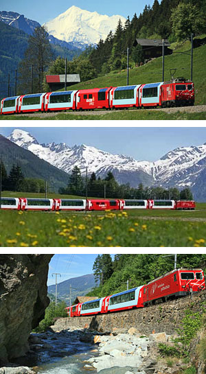 The Glacier Express amidst stunning mountain scenery