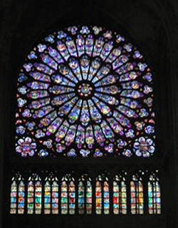 Inside the Notre Dame, the cathedral church of Paris
