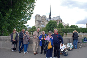 Some of our tour party outside Notre Dame Cathedral, Paris.