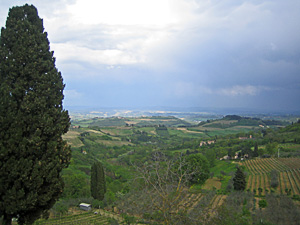 Tuscan countryside from village of San Gimignano
